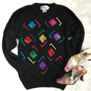 Vintage 90's Rainbow Sequin Silk Blend Sweater